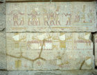 Egypt, Karnak, Temple of Amun, painting on wall of the Sanctuary showing Philip Arrhidaeus and priest bearing sacrifice