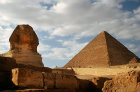 Sphinx and the Pyramid of Chephren or Khafre, Giza, Egypt