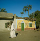 Egypt, village south of Cairo, images on house whose owner has been to Mecca