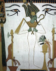 Egypt, Thebes, tomb of Senedjem, wall painting of Osiris, with flail and crook, eyes of Horus above, thirteenth century BC