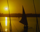 Egypt, Luxor felucca on the Nile at sunset