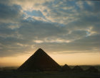 Pyramid  of Menkaure and the smaller pyramids of the Queens of Khufu, Giza, Egypt