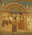 Emperor Constantine IV grants privileges to the church, 7th century mosaic, apse, Sant Apollinare in Classe, Ravenna, Italy