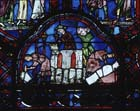 Stonemasons, donors, panel I, St Sylvester window, 13th century stained glass, Chartres Cathedral, France