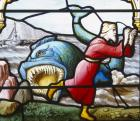 Jonah and the Whale, 19th century stained glass, Church of St Aignan, Chartres, France
