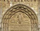 Royal portal, central bay lintel with 12 apostles, tympanum with Christ and symbols of 4 evangelists, 13th century sculpture, Chartres Cathedral, France