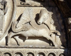 Chartres, Royal Portal, centre bay, bull, symbol of St Luke, 12th century