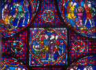 St Stephen window, number 41 panels 8-11 , thirteenth century, north east ambulatory, Chartres Cathedral, Chartres, France