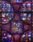 Details of the life of St Stephen, window number 41, thirteenth century, panels 1-7 north east ambulatory, Chartres Cathedral, Chartres, France