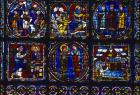 Nativity, Incarnation window, panels 1-6, 12th century stained glass, Chartres Cathedral, France