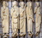France, Chartres cathedral, north porch, central bay, left jamb, Melchizedek, Abraham, Moses and King David, 13th century sculpture