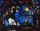 Weighing of souls,  Last Judgement window, 13th century stained glass, Bourges Cathedral, France