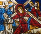 Christ carrying the cross, 1975 stained glass by Gabriel Loire, Coignieres Church, France