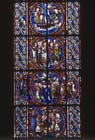 Life of Virgin window, detail of four 12th century stained glass roundels, north triforium, Angers Cathedral, France