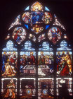 Assumption, seventeenth century window in the Chapel of the Holy Font donated by Marechal De Montigny, Bourges Cathedral, France