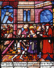 Submission of Thibault, detail of sixteenth century St Louis window, church of La Madeleine, Troyes, France