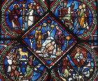 France, Sens Cathedral, four thirteenth century panels with scenes from Moses, central panel, the Good Samaritan