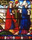 Three Marys at empty tomb, detail from fifteenth century Passion  window, Church of La Madeleine, Troyes, France