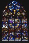 Coronation of the Virgin, 16th century stained glass, Notre Dame, Chalons-en-Champagne formerly Chalons-sur-Marne, France