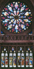 South rose window, Coronation of the Virgin, and apostles, sixteenth century, Evreux Cathedral, France