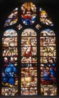 Christ the wine press, 16th century stained glass, Church of St Foy, Conches, France