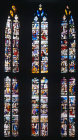 Three middle windows in choir, sixteenth century, Church of Sainte Foy, Conches, France