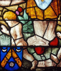 Sainte Foy window in choir, detail, with Heinrich Aldegrever