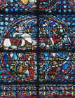 Joseph window with signature of Clement of Chartres, thirteenth century, Rouen Cathedral, France