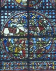 Clement of Chartres, 13th century French glass-maker with his signature, in Latin, 13th century stained glass, Rouen Cathedral, France