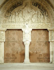 France, Vezelay,  Christ blessing, 12th century Portal in the Narthex