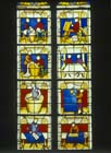 Drapers window, 15th century stained glass, Notre Dame, Semur-en-Auxois, France