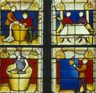 Drapers window, 4 panels, 15th century stained glass, Notre Dame, Semur-en-Auxois, France