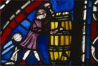 Coopers, donors of Noah window, 13th century stained glass, Chartres Cathedral, France