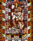 Chained devil, Resurrection window, 1308-45, Chapel of St Lawrence, Strasbourg Cathedral, France