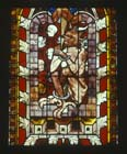 Chained devil, detail from Resurrection Window, 14th century stained glass, St Lawrence Chapel, Strasbourg Cathedral, France
