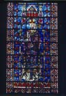 Bishop, 13th century stained glass, nave of Rheims Cathedral, France