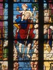 St Christopher, detail, 16th century stained glass, Church of St Martin, Montmorency, France