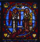 Annunciation and Abbe Suger, 12th century stained glass, Church of St Denis, Paris, France