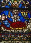 Jesse, detail from the Jesse Tree, 12th century stained glass, St Denis, Paris, France