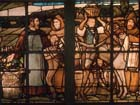 Dom Perignon window, 19th century stained glass by F.Gaudin, Moet et Chandon winery, Epernay, France