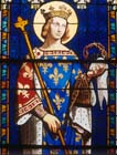 St Louis, 19th century stained glass by Ingres, Chapelle Royale, Dreux, France