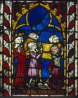 David at the funeral of Abner,14th century German stained glass, Church of St Etienne, Mulhouse, France