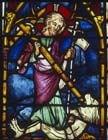 Christ triumphs over Satan, 14th century German stained glass, Church of St Etienne, Mulhouse, France