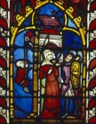 Flight of David planned by Michal, 14th century German stained glass, Church of St Etienne, Mulhouse, France
