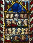 Souls in Heaven, Hell and Limbo, 14th century German stained glass, Church of St Etienne, Mulhouse, France