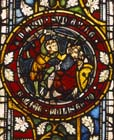 David slaying Goliath, 14th century German stained glass panel, Church of St Etienne, Mulhouse, France