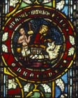 Daniel kills the dragon with a pill, 14th century German stained glass, Church of St Etienne, Mulhouse, France