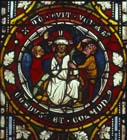 Mocking of Christ, 14th century German stained glass, Church of St Etienne, Mulhouse, France