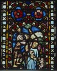 Adam and Eve and their children, 14th century German stained glass, Church of St Etienne, Mulhouse, France