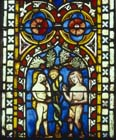 Temptation of Adam and Eve, 14th century German stained glass, Church of St Etienne, Mulhouse, France